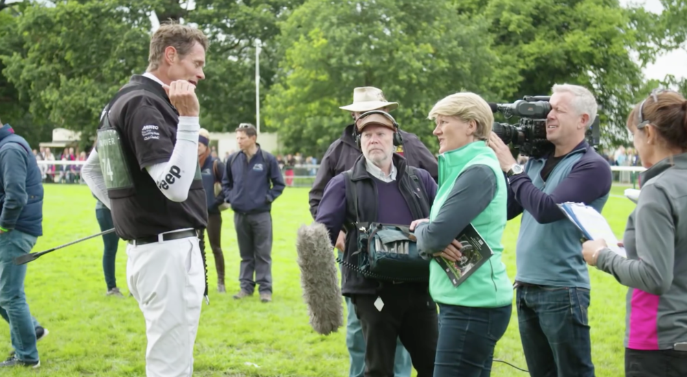 Clare Balding interviewing William Fox-Pitt
