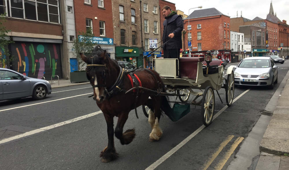 Horse and cart on the streets of Dublin