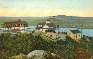 Period postcard showing the Beaconcrest Hotel (left), the Casino (center), and railway powerhouse and station (right). A private cottage community also sprang up on the mountain.