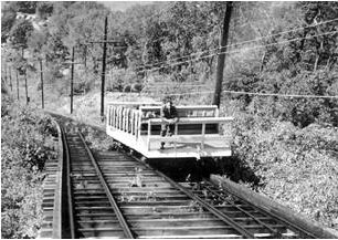 A solitary figure rides a decidedly tired looking railway in a photo that epitomizes the Incline's decline from the 1950s thru the 1970s.    Courtesy Beacon Historic Society