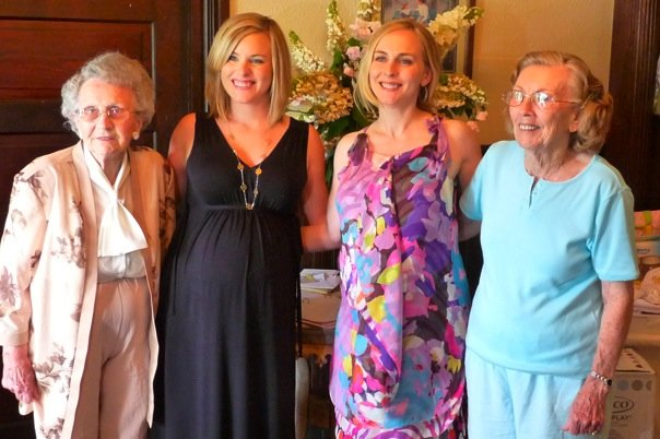 Grandmother Eloise Salter, Jen, me, Grandmother Florence Howell celebrating our new babies to be.   May 2009