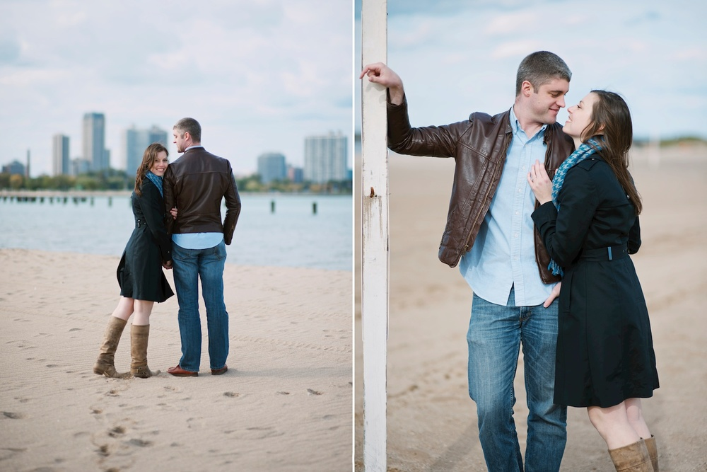 Stunning engagement shoot on North Avenue Beach in Chicago, IL. Engagement session by Maddie Mae Photography