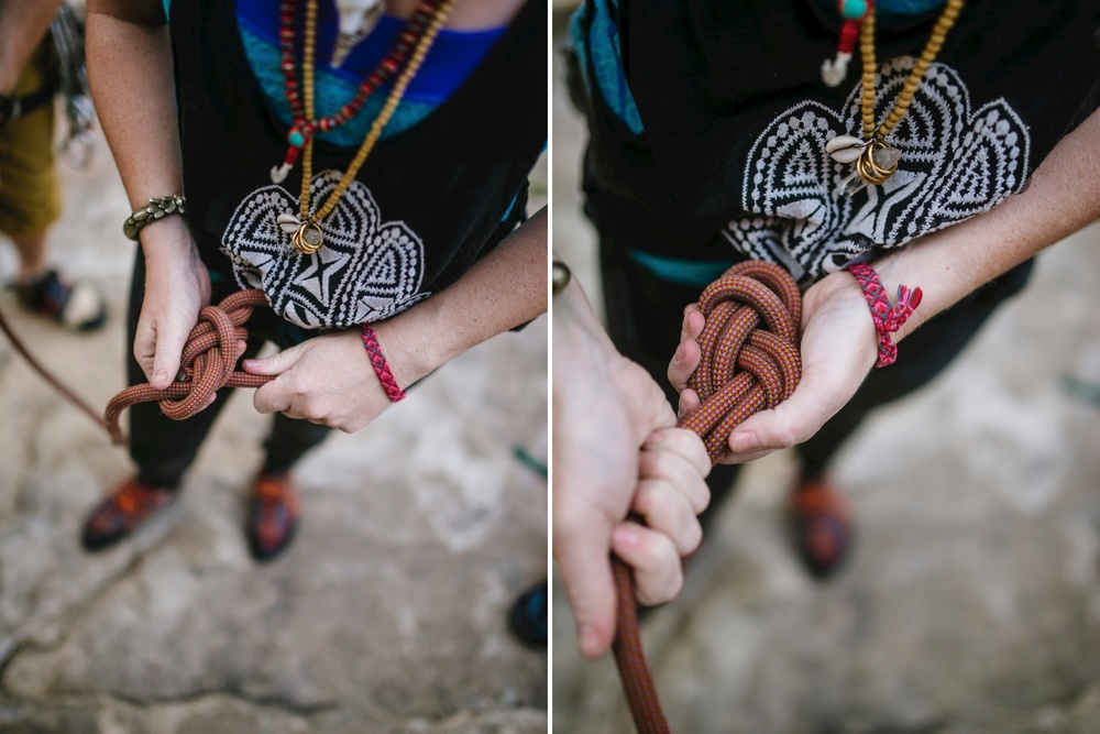 Tying a figure eight 8 knot on a rock climbing engagement shoot with Maddie Mae Photography