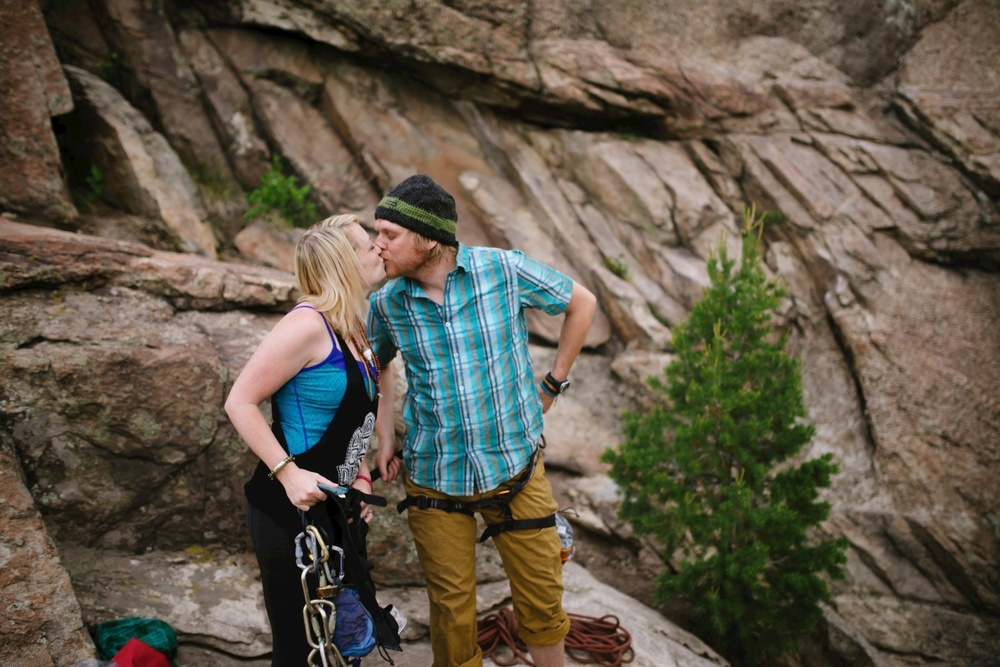 This is a super cute rock climbing engagement photo shoot by Maddie Mae Photography!