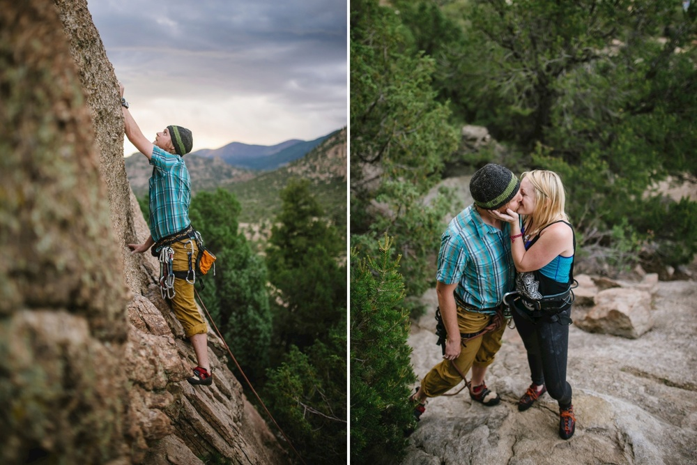Epic and adventurous rock climbing engagement photo shoot // Maddie Mae Photography