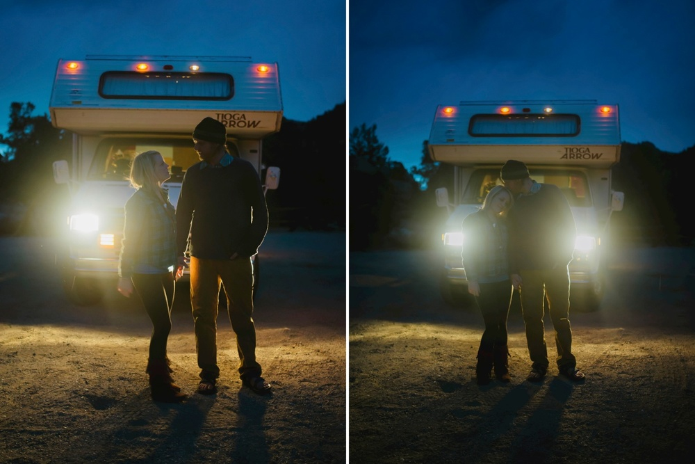 Love this shot with the couple backlit by the headlights of their RV // Adventure Travel Engagement Photos // Maddie Mae Photography