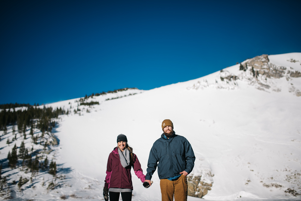 A wintery engagement session on St. Mary's glacier in Golden, Colorado // Mountain engagement photographer // Maddie Mae Photography