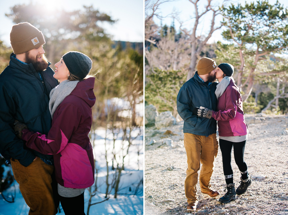 Colorado mountain engagement session in winter by Maddie mae Photography