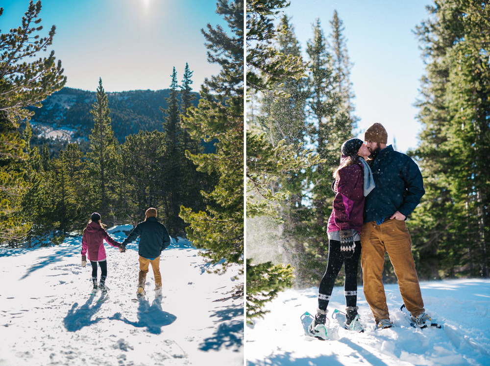 Snowshoeing engagement session in the Colorado mountains. St. Mary's glacier snowshoe photoshoot by Maddie Mae Photography
