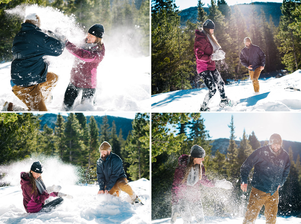 Adorable snow fight during a winter engagement session by Adventurous Colorado Engagement Photographer, Maddie Mae Photography