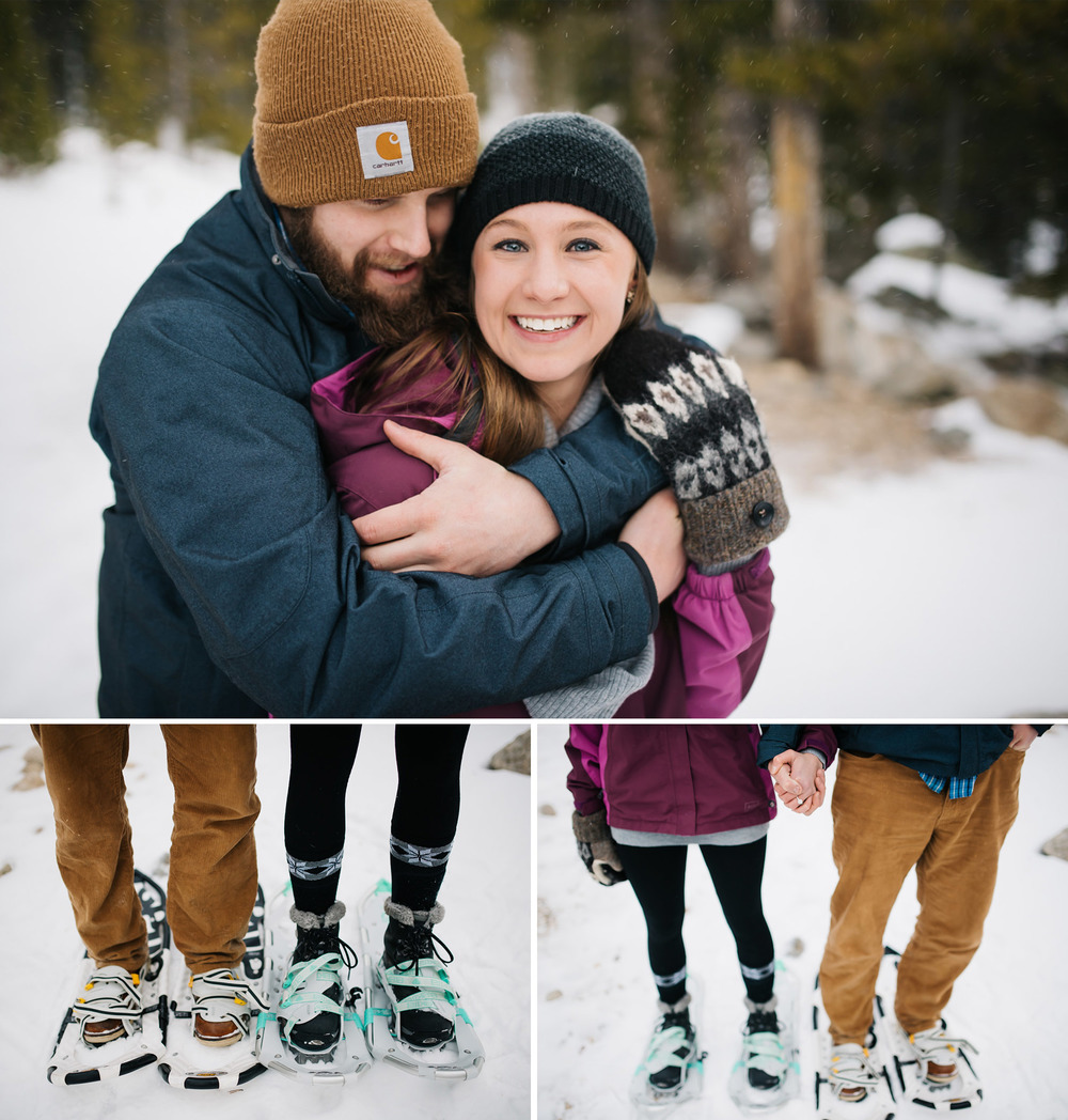 Such a good idea for outdoorsy couples! Do a snowshoe engagement shoot in the Colorado mountains! Snowshoeing engagement photos by Maddie Mae Photography