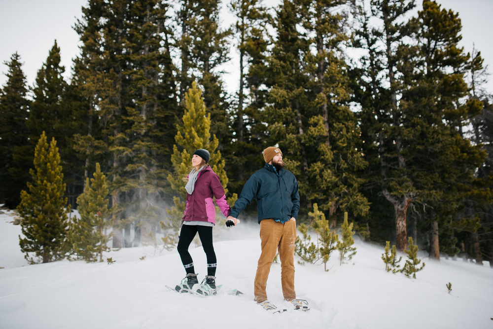 Adventurous Colorado Engagement Photographer, Maddie Mae Photography did this epic snowshoeing engagement session.