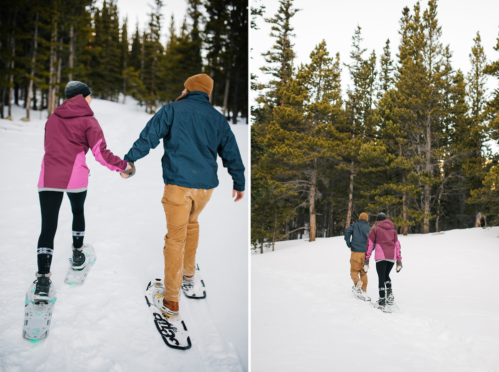 Epic and adventurous Colorado winter engagement shoot where a couple snowshoes up a glacier. Snowshoeing engagement photos by Maddie Mae Photography.