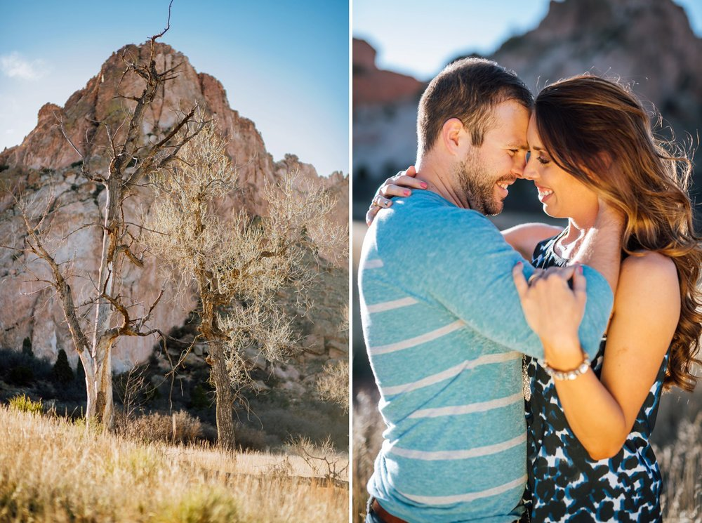 Stunning engagement shoot in Garden of the Gods as seen from Rock Ledge Ranch in Colorado Springs, CO. Photos by Maddie Mae Photography - Adventure Wedding Photographer.
