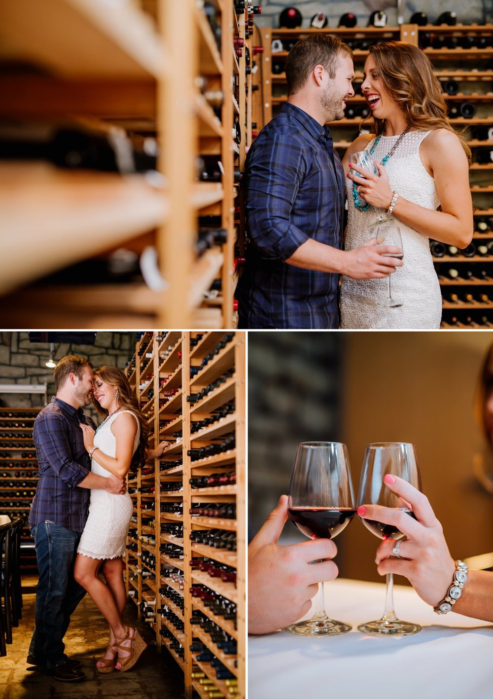 An adorable engagement shoot in a private wine cellar! I love wine and it would be so fun to do my engagement photos in a winery! Wine-lover engagement photos by Maddie Mae Photography.