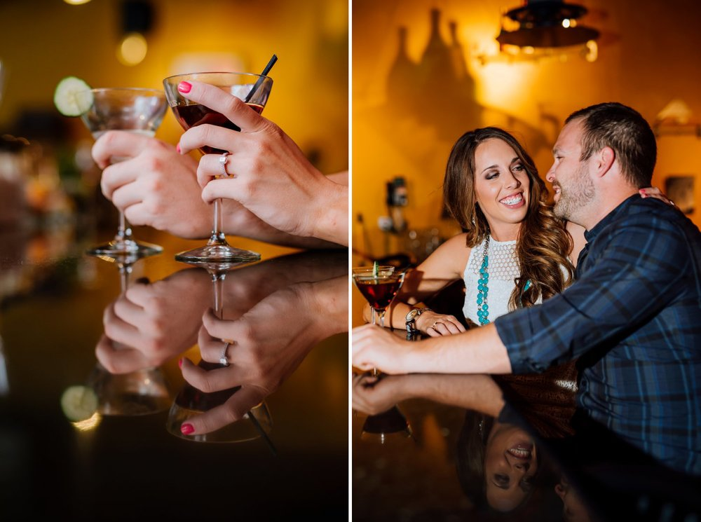 I love this ring shot with the cocktail glass! It would be so fun to do my engagement photos in a cocktail bar! Photos by Maddie Mae Photography.