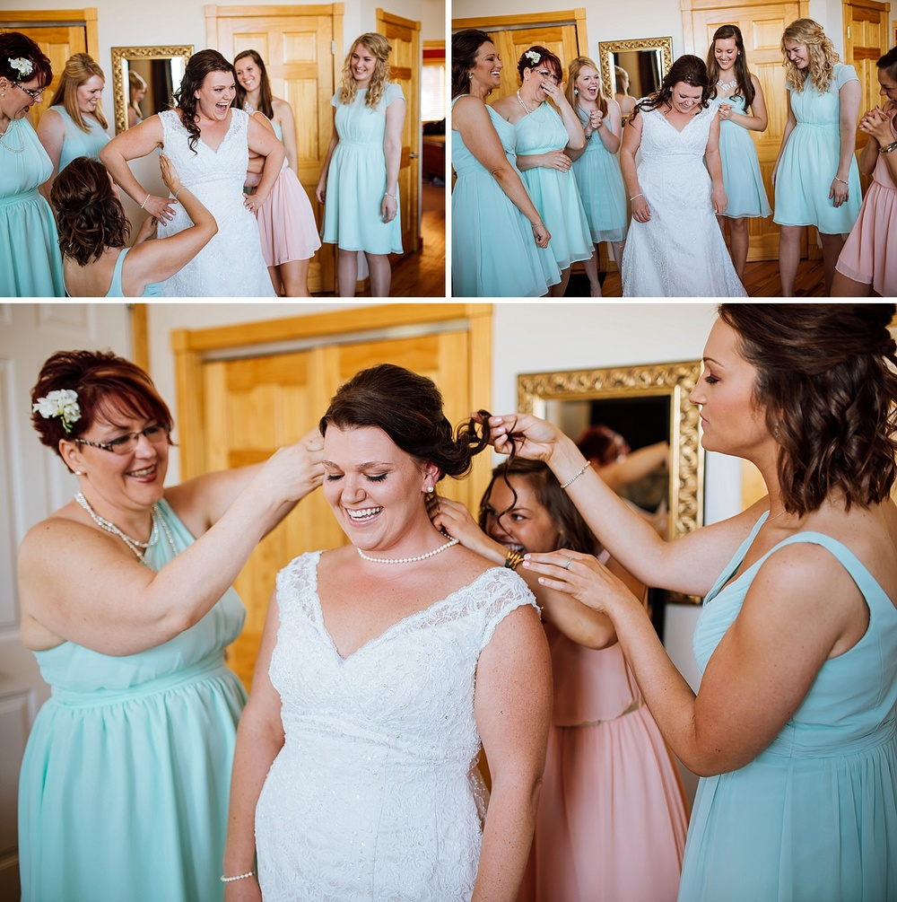 These getting ready photos are too cute! I love the light pink, light blue and white together! And the pearls add such a nice touch! I wish I could have this much fun at my wedding! Photo by Maddie Mae Photography