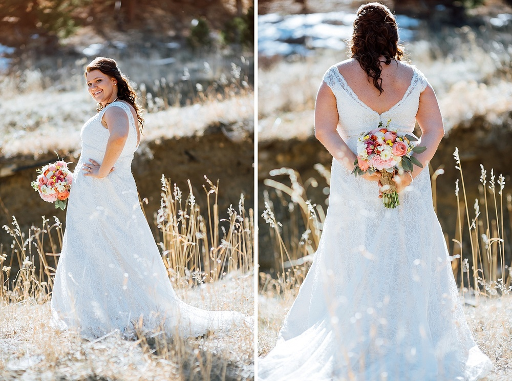 I love the colors in the bouquet! Such a nice contrast to the dress. Also love how beautiful this mountain location is! Photo by Maddie Mae Photography