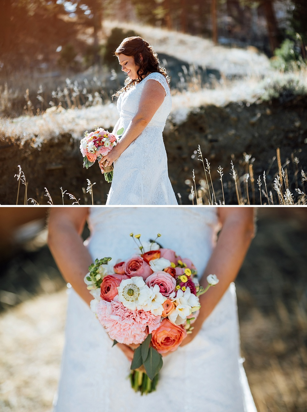 This bouquet with shades of coral, pink, orange, white and yellow is beautiful! Paired with the lace wedding dress is perfection! I love the how the bright colors stand out against the white. Beautiful bridal photos. Photo by Maddie Mae Photography
