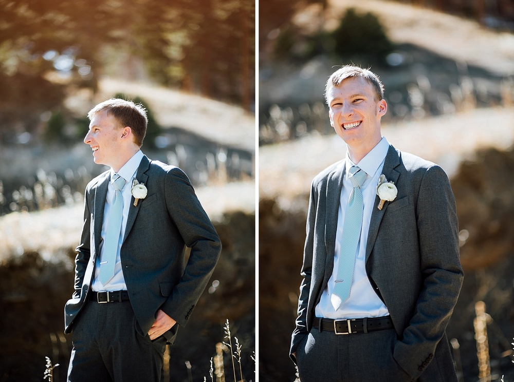 This groom looks so happy! It would be so nice to have my wedding up near Estes Park somewhere in the mountains! Photo by Maddie Mae Photography