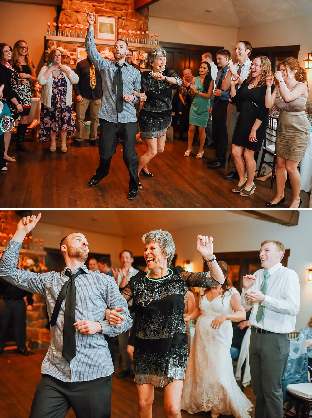 Such a fun idea! Have a dance circle at the wedding reception with all your guests! I love this venue  - Marys lake lodge in Colorado! Photo by Maddie Mae Photography