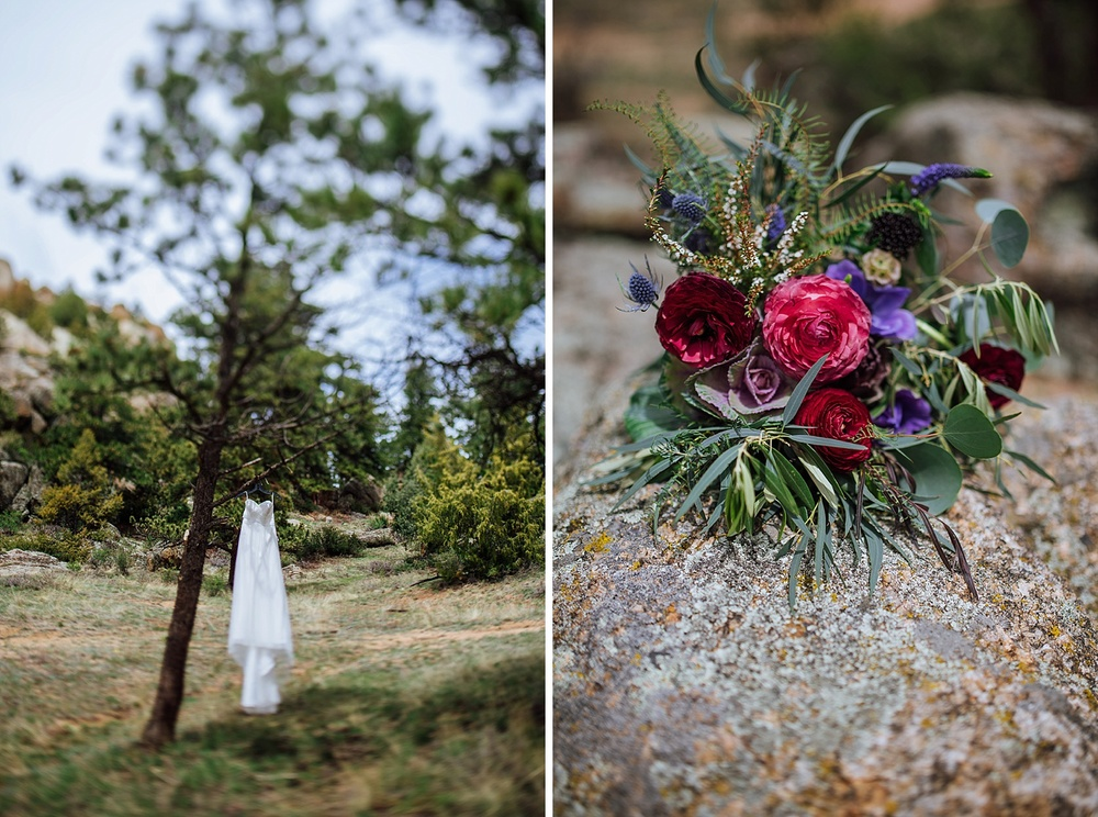 This wildflower and rose bouquet with shades of green, pink, purple and red is stunning! Absolutely perfect for a mountain wedding! Photo by Maddie Mae Photography