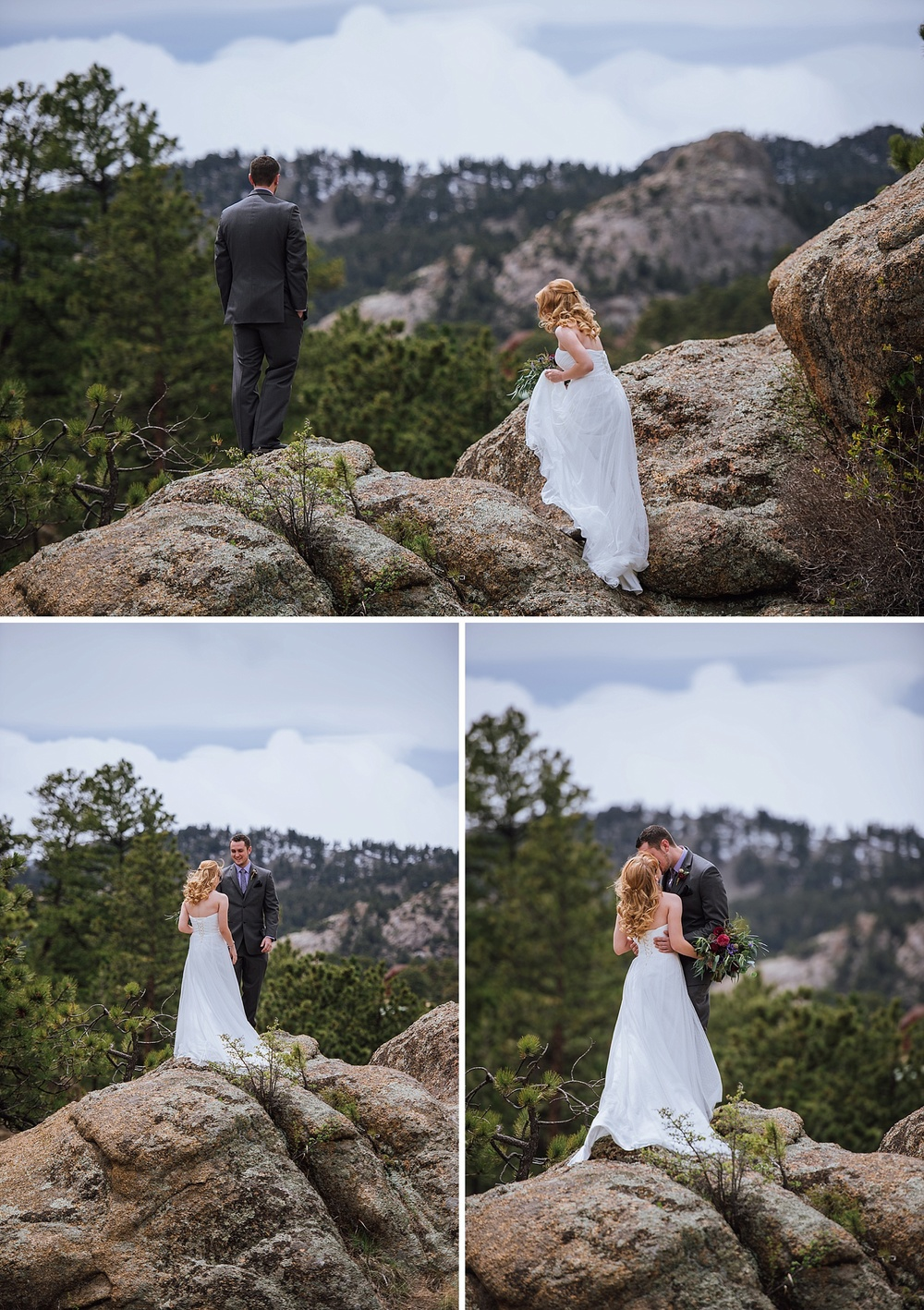 Having your first look on top of a boulder in the mountains is such a good photo op. I really want to go get married in Rocky Mountain National Park! Photo by Maddie Mae Photography
