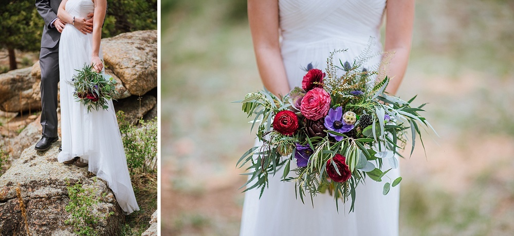 Amazing wildflower bouquet with shades of green, pink and red. Great for an outdoor, Colorado wedding. Photo by Maddie Mae Photography