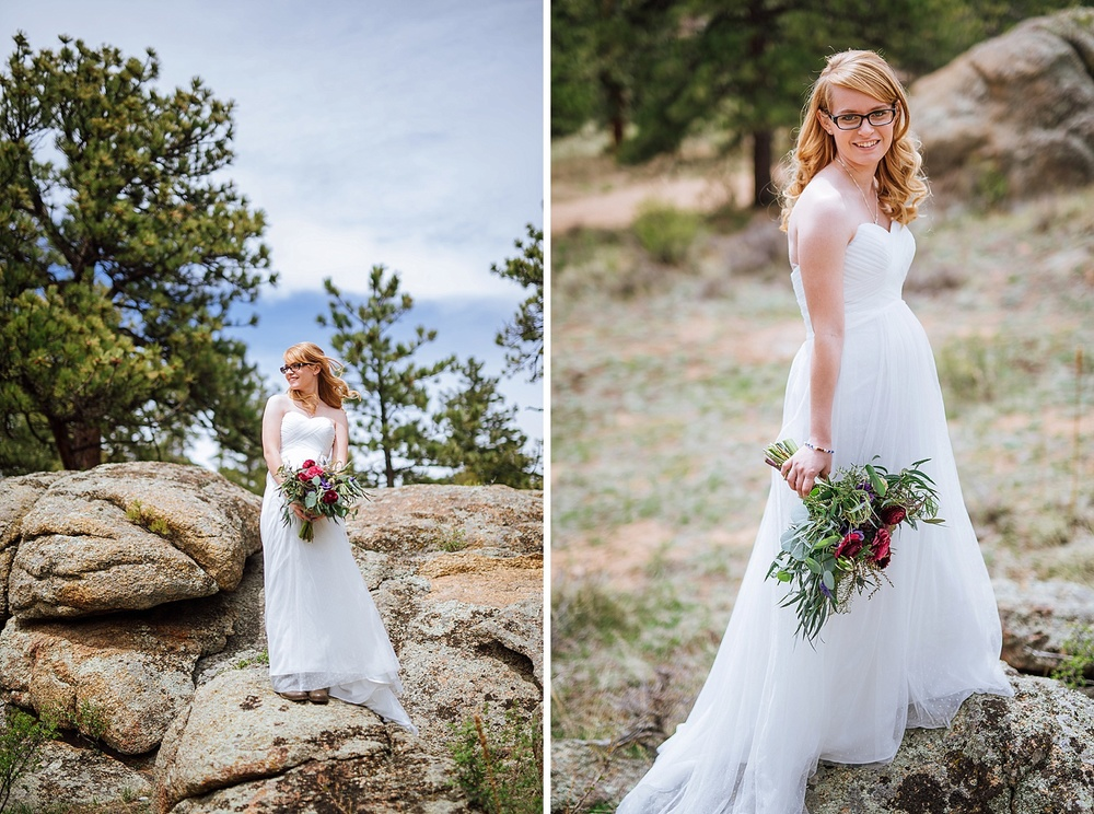 Her bouquet is INCREDIBLE. I love the shades of green, red and purple.. and those wildflowers! Perfect for a mountain wedding! Photo by Maddie Mae Photography