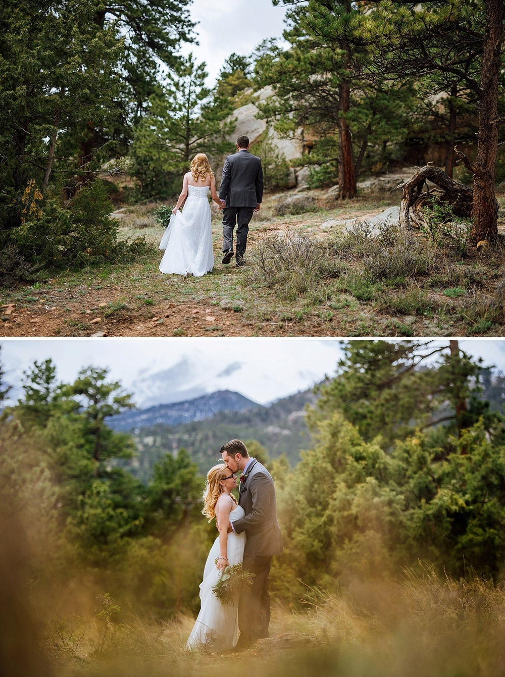 I've heard Rocky Mountain National Park is a beautiful and affordable place to get married. I really love these couple photos of the bride and groom hiking around the mountains! Photo by Maddie Mae Photography