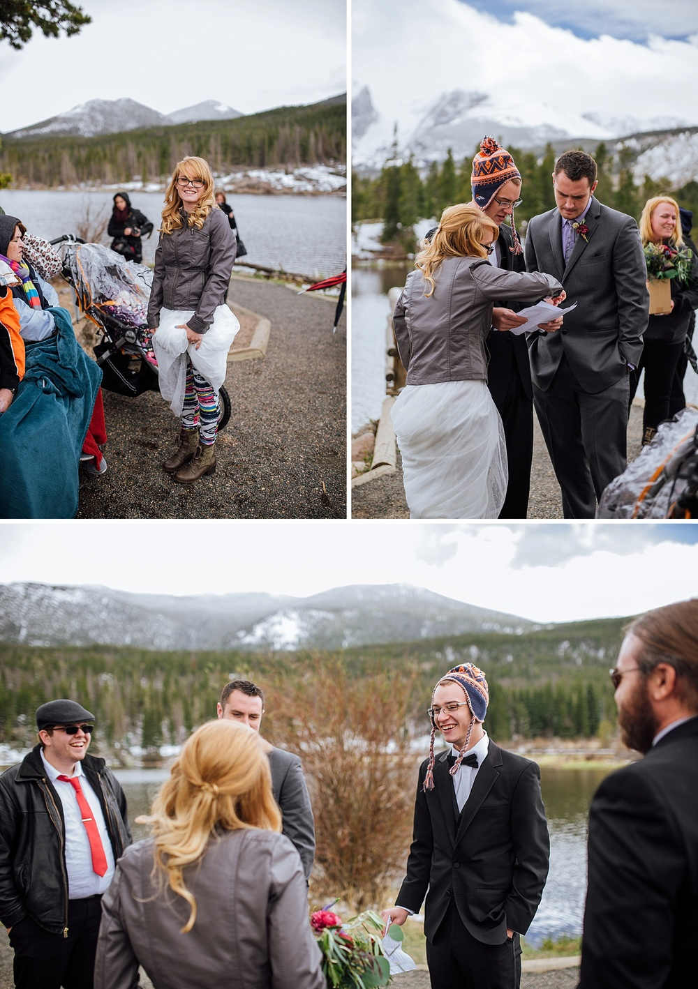I love how the bride is wearing yoga pants/leggings underneath her dress! And the officiant wearing a hat! I love winter weddings! They're so fun! Photo by Maddie Mae Photography