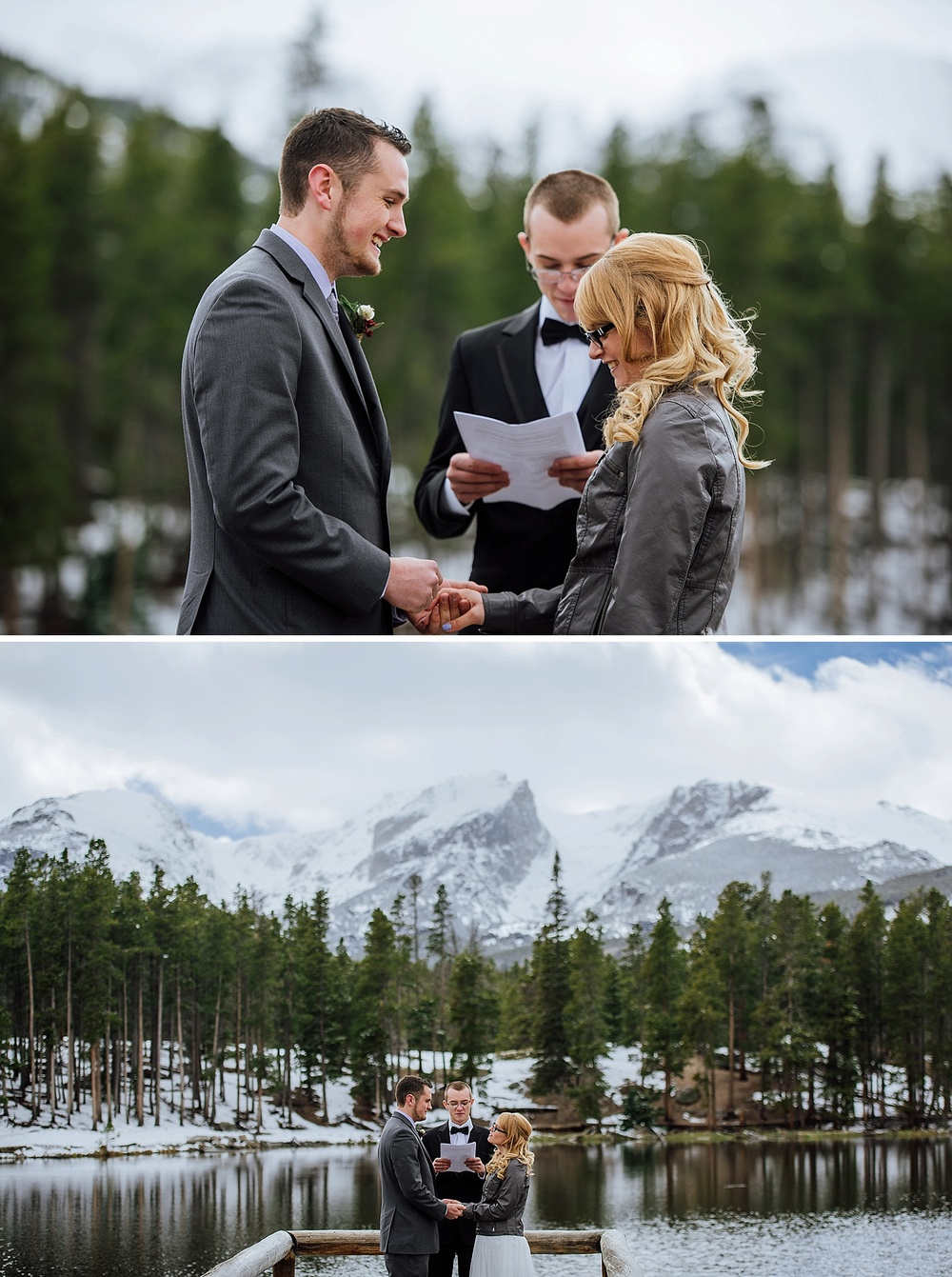 That's it, I want to have my wedding at Sprague Lake in Rocky Mountain National Park during the winter. I love how there is still snow everywhere. This is such a beautiful elopement picture! Photo by Maddie Mae Photography