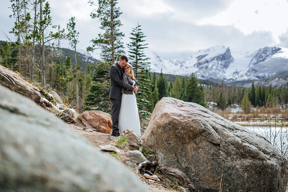 I want to have my wedding photos taken at Sprague Lake in Rocky Mountain National Park. I especially love winter weddings- I love how there is still snow everywhere! Photo by Maddie Mae Photography