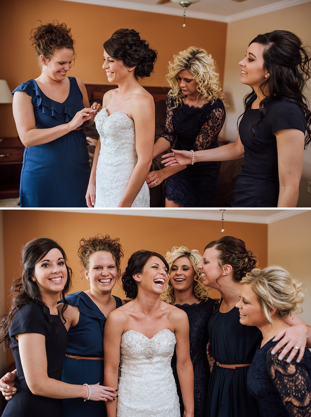 I wish I could have this much fun with my bridesmaids on my wedding day. I also love this royal blue against the white! Photo by Maddie Mae Photography