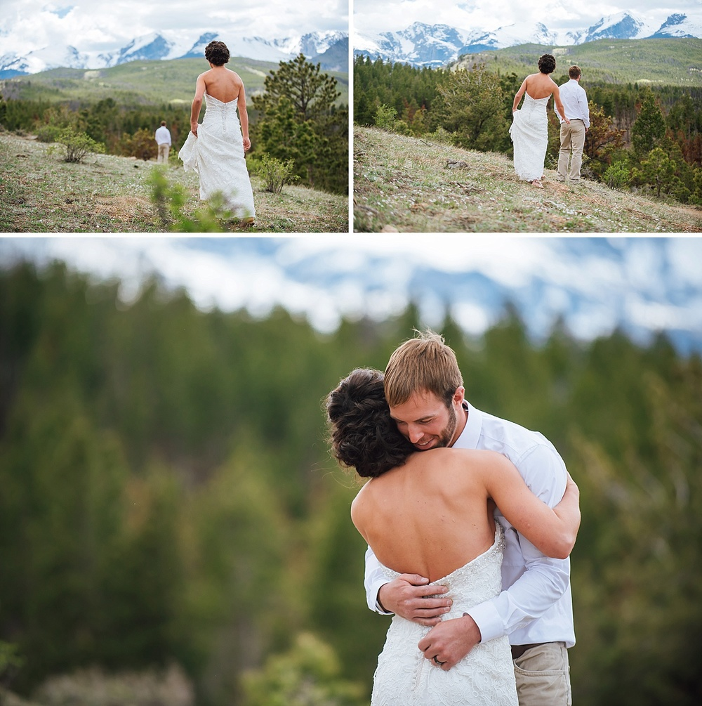 This is such a precious first look! I can't believe the location.. Estes Park is so beautiful. Photo by Maddie Mae Photography