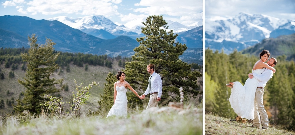 I love these photos of the bride leading the groom and then him picking her up. Estes Park in Colorado is a magical place! Photo by Maddie Mae Photography