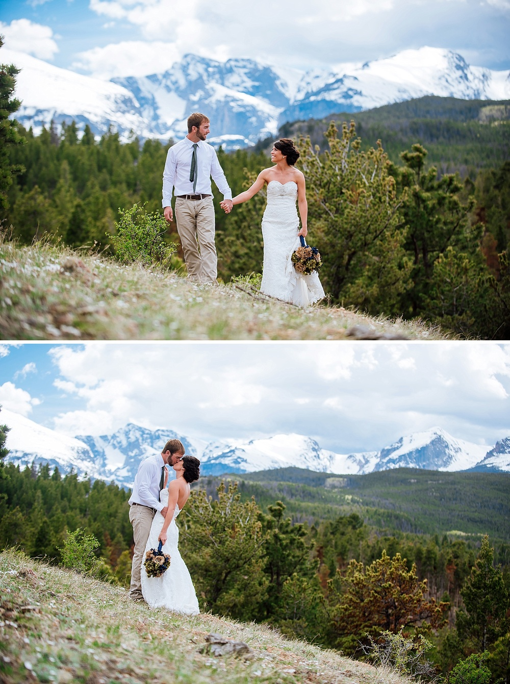 I would love to have my wedding on the side of a mountain. I love how the snow tipped peaks are in the background of these couple photos. Photo by Maddie Mae Photography