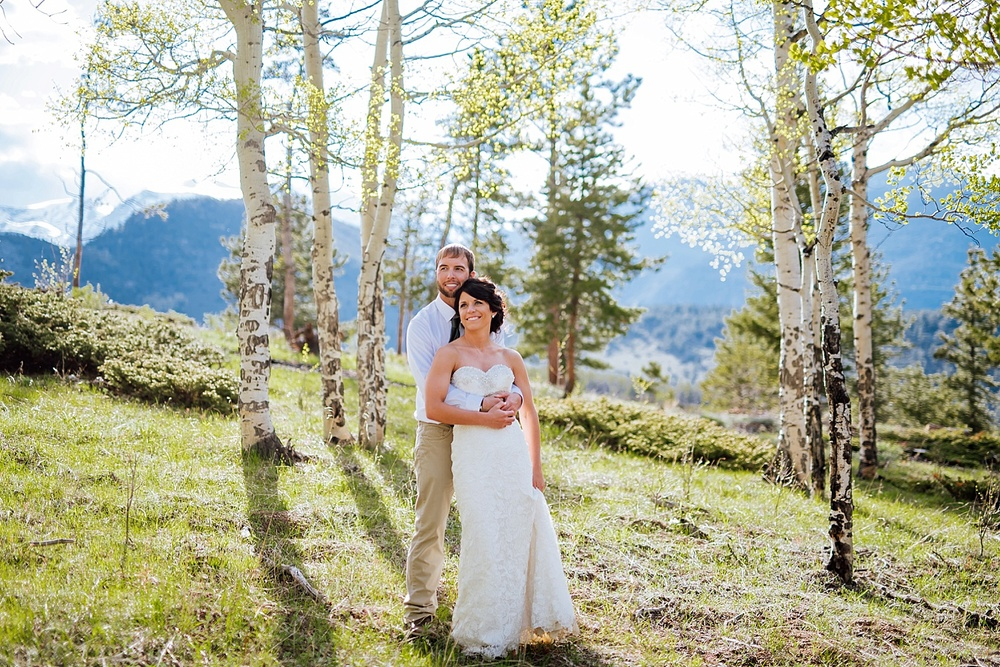 I love the Rocky Mountains in the background of these wedding photos! Colorado is such a beautiful place! Photo by Maddie Mae Photography
