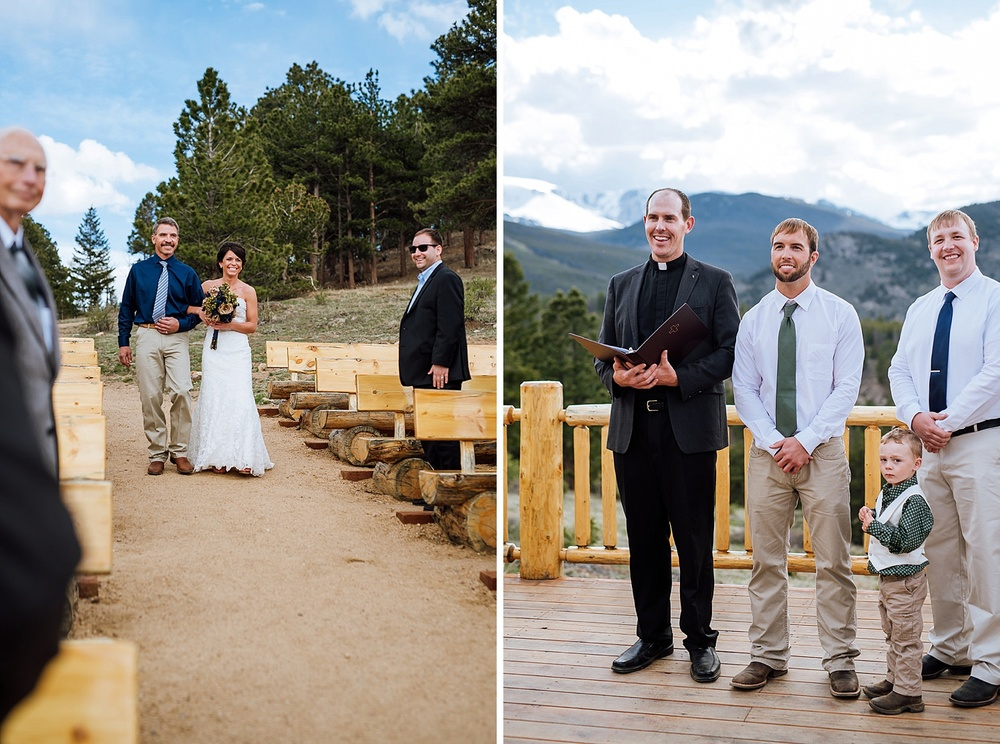 The snow capped mountains in the background are so beautiful! Overlook Chapel at the YMCA of the Rockies is the most amazing mountain wedding venue. Photo by Maddie Mae Photography