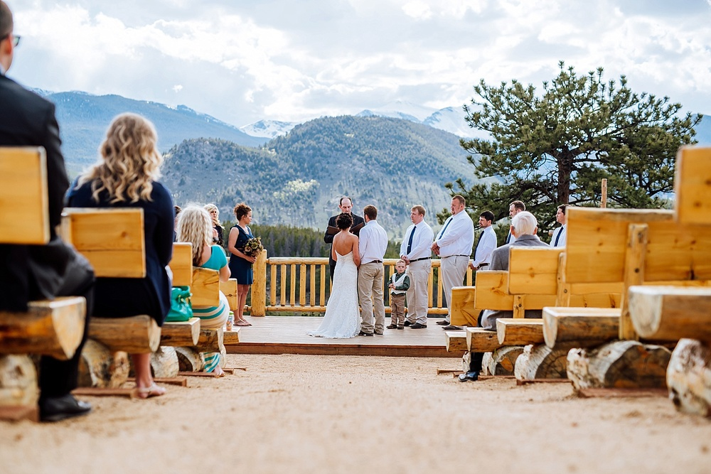 Overlook Chapel in Estes Park at the YMCA of the Rockies, is a beautiful, intimate location for a mountain wedding. Photo by Maddie Mae Photography
