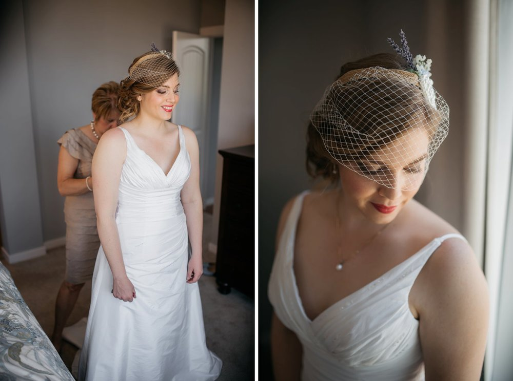 The gold headband with flowers is the perfect touch with this birdcage veil. The drop necklace also is a simple but beautiful touch to the plunge neckline on the dress. Photo by Maddie Mae Photography