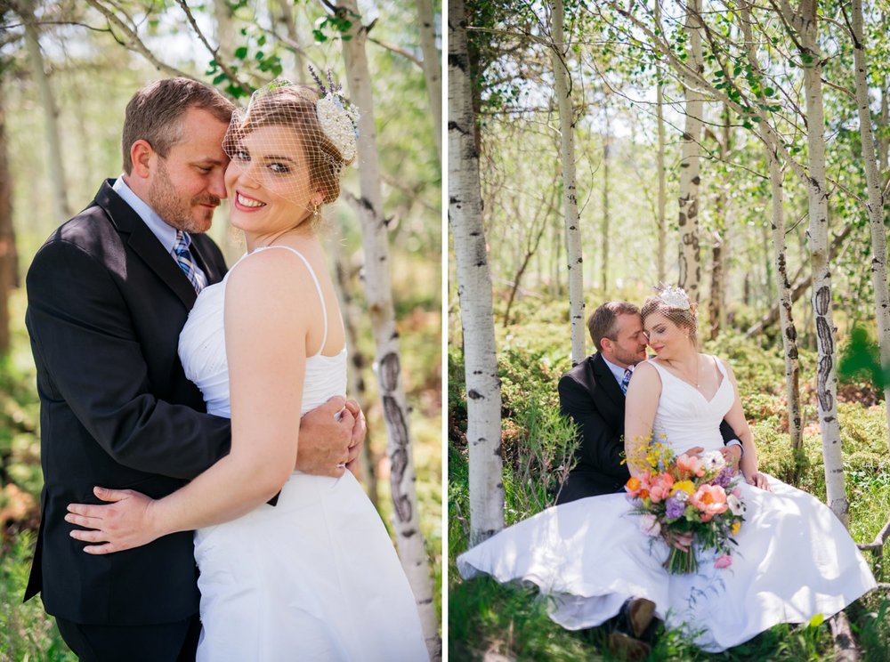 These photos look like something out of a fairytale! The bride and groom sitting together with the aspen trees and tall grass in the back. Absolutely stunning Colorado mountain wedding! Photo by Maddie Mae Photography