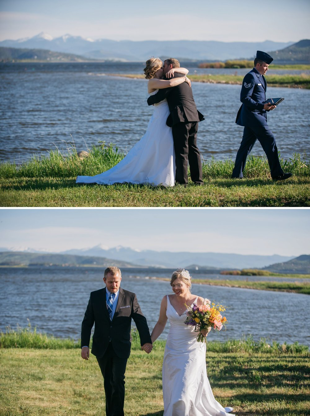 This first kiss is stunning! Grand Lake in Colorado is beautiful for a mountain, lake wedding. Photo by Maddie Mae Photography