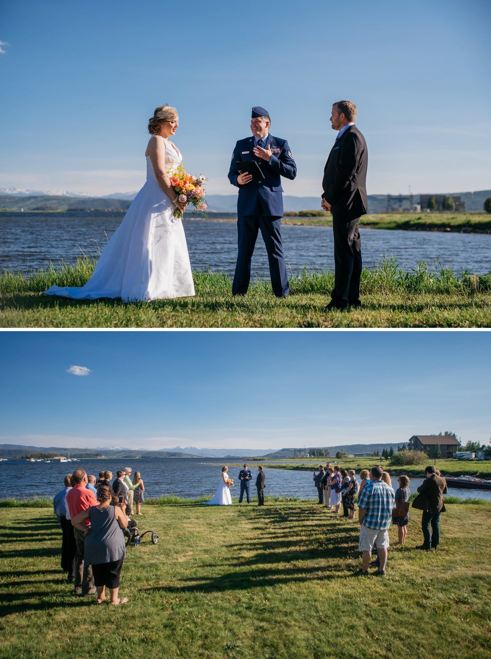 Grand Lake in Granby, Colorado is the perfect wedding venue! This ceremony overlooking the lake and the mountains is amazing! For a short, intimate wedding or elopement, the guests can stand instead of sitting! Photo by Maddie Mae Photography