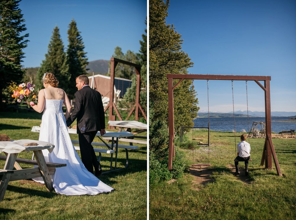 I love this random swing set overlooking Grand Lake. Photo by Maddie Mae Photography