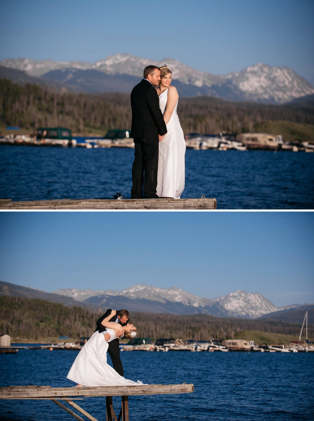Beautiful dip kiss of the pier over Grand Lake in Colorado. This is the best mountain, lake wedding venue in Granby! Photo by Maddie Mae Photography