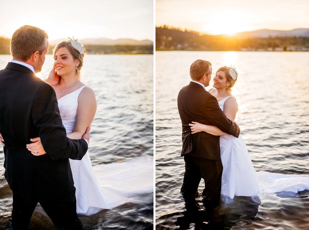 Beautiful in-water bride and groom sunset photos from an intimate wedding at Grand Lake in Colorado. Photo by Maddie Mae Photography