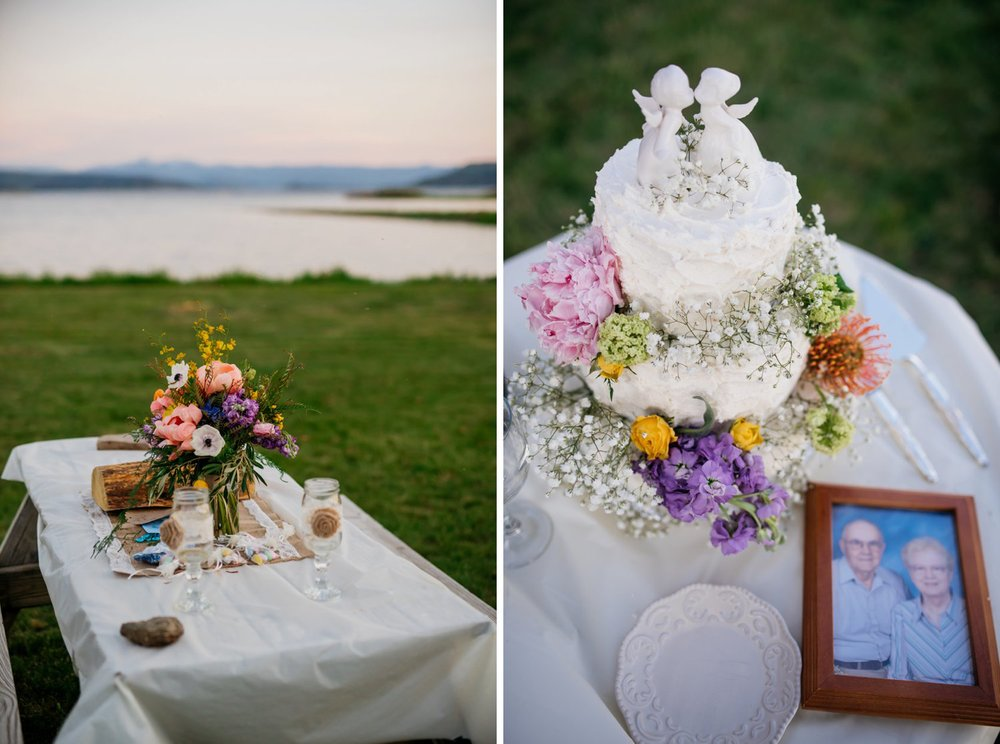 This is a cute nod to the couple's family. What a beautiful and sweet lake wedding reception. Photo by Maddie Mae Photography