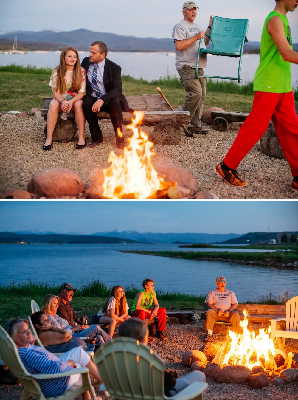 Intimate lake weddings are so beautiful and the campfire is the perfect finishing touch! Photo by Maddie Mae Photography