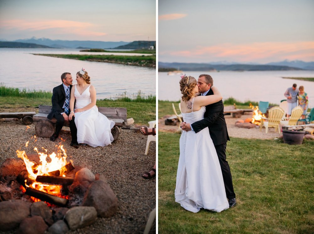 I love this bonfire idea for an intimate wedding reception. Photo by Maddie Mae Photography
